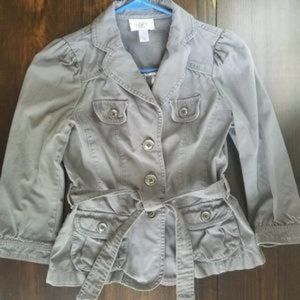LOFT Gray Fitted Jacketed with Cropped Sleeves